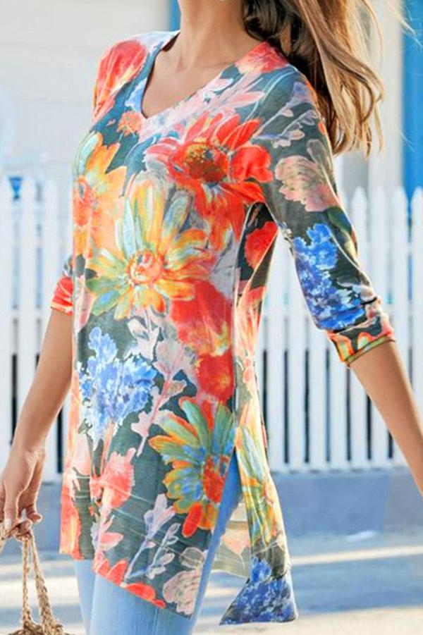Slit Floral Print V Neck Long Sleeve T-shirts