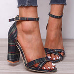 Casual Plaid Peep Toe Chunky Heel Sandals