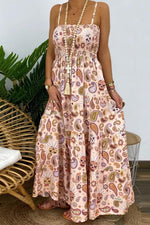 Bohemian Graphic Print Spaghetti Backless Holiday Maxi Dress