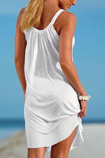 Casual Solid Pleated Beach Sling Mini Dress