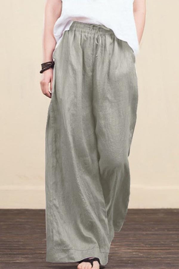 Solid Self-tie Paneled Side Pockets Casual Wide Leg Pants