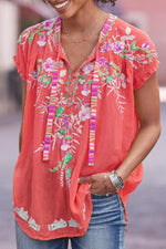 Bohemian Floral Print Curved Hem Casual T-shirt