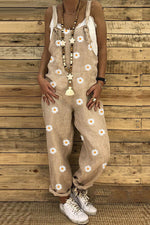 Holiday Daisy Print Paneled Sling Sleeveless Jumpsuit