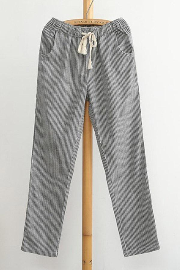 Casual Striped Self-tie Pockets Pants