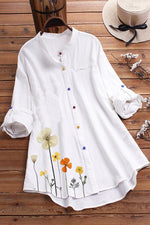 Floral Print Colorful Buttoned Curved Hem Blouses