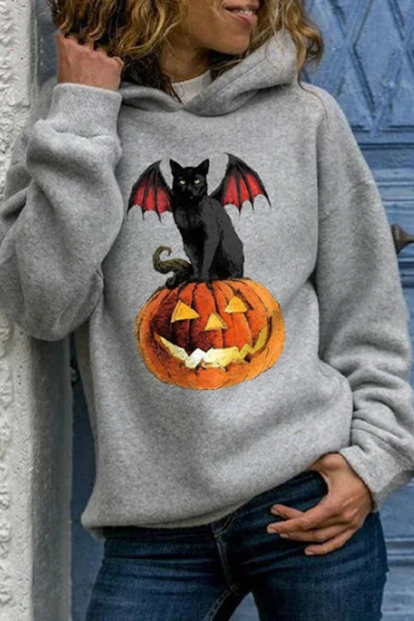 Black Cat With Wing Sitting On The Pumpkin Print Halloween Hoodie