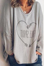 Casual Heart Letter Print Paneled V-neck Sweatshirt