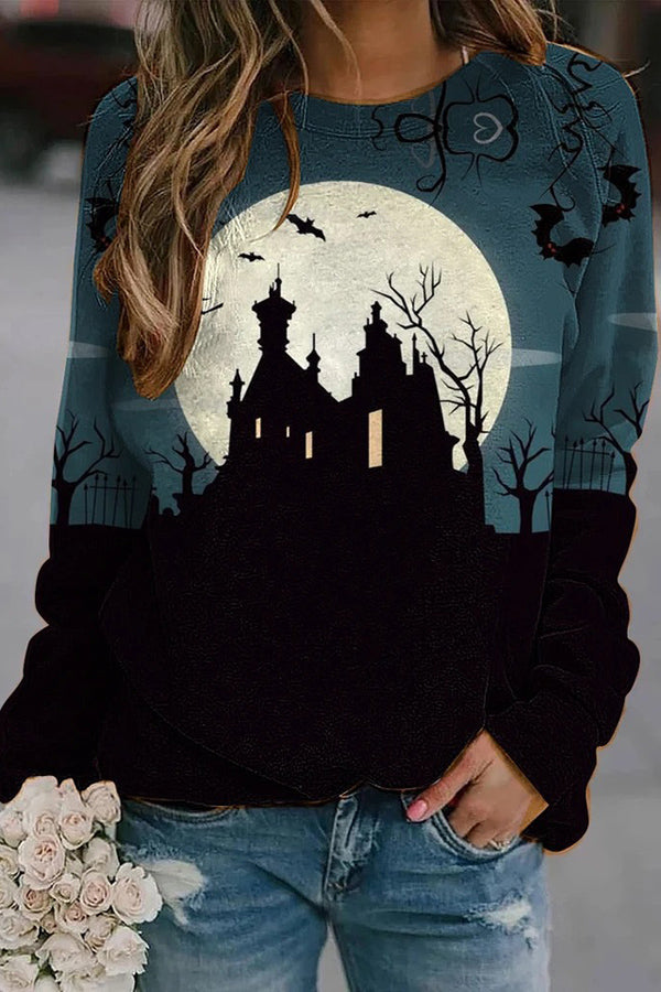 Ancient Castle Bat Tree Moon Print Color-block Halloween Sweatshirt