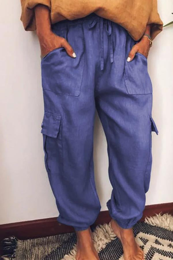 Solid Paneled Side Pockets Self-tie Foot-binding Casual Pants