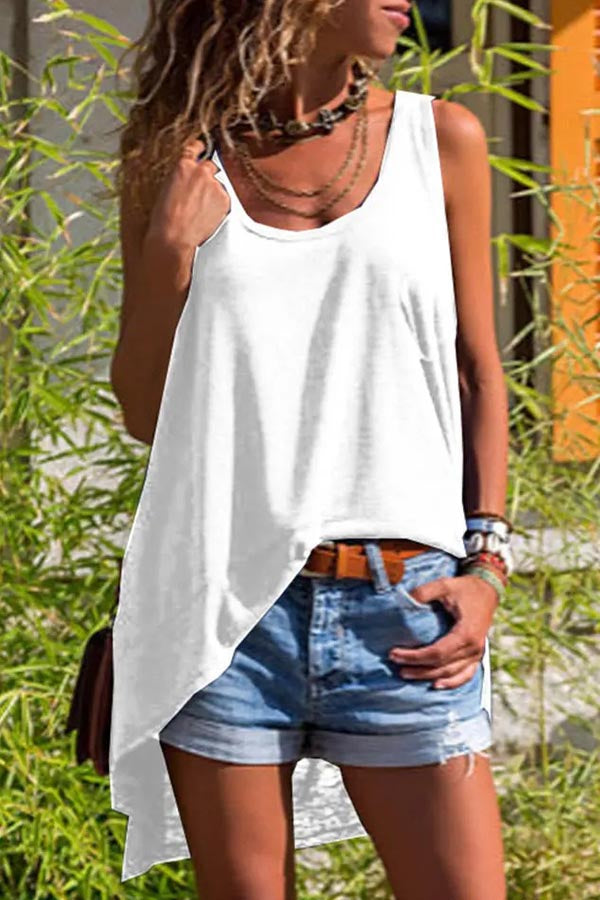 Solid Sleeveless Casual Irregular Hem Blouse