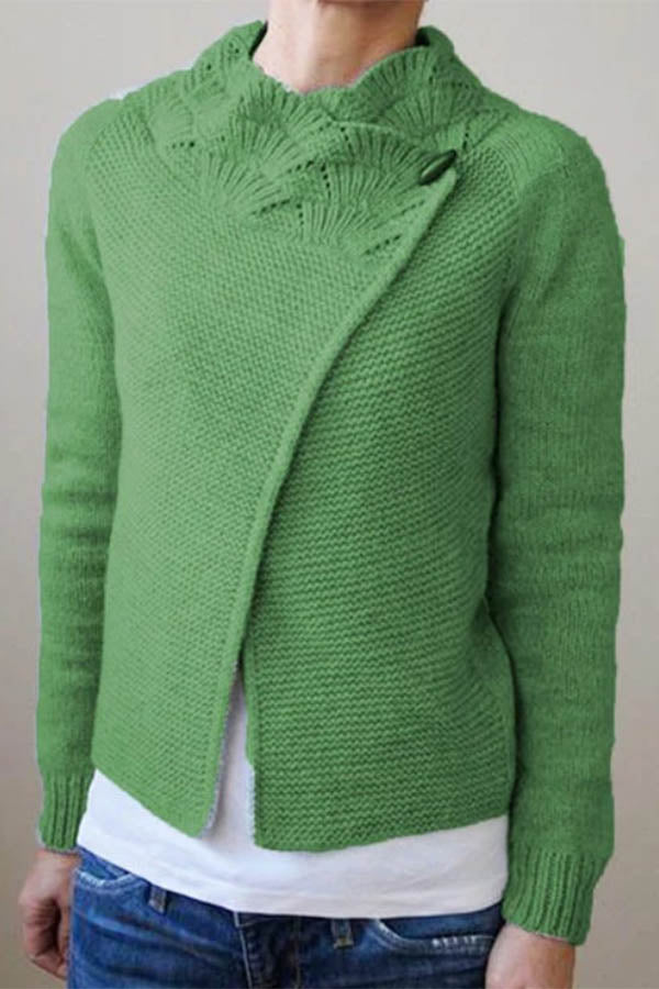 Knitted Solid Ribbed Horn Buckle Vintage Cropped Cardigan