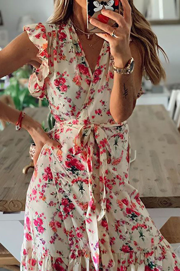 Bohemian Floral Print Cross Front V-neck Ruffled Maxi Dress