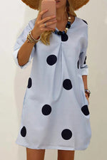 Simple Design Polka Dots Print V-neck Pleated Midi Dress