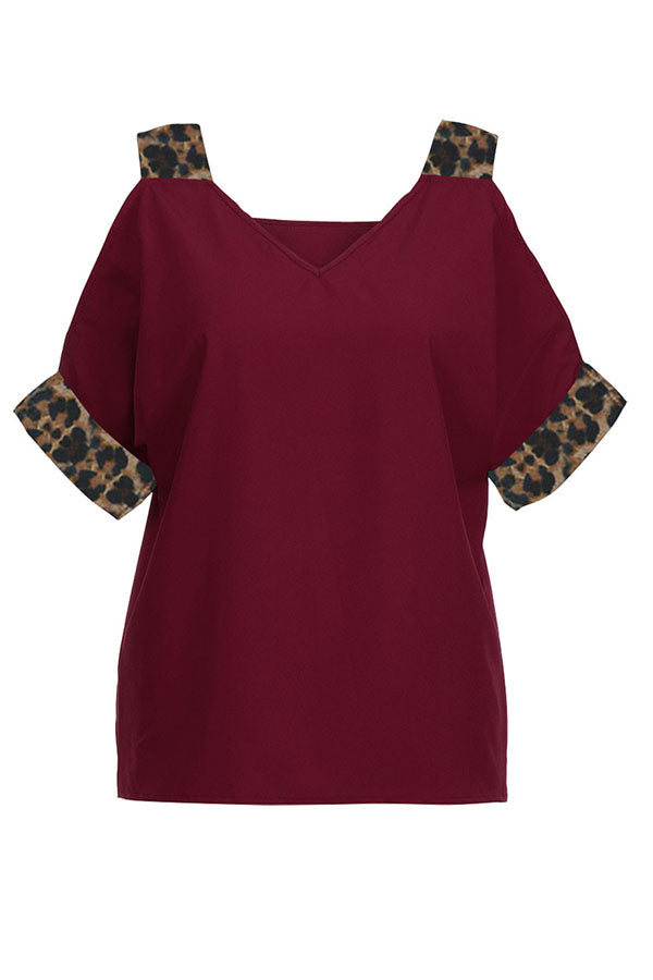 Paneled Leopard Print Cold Shoulder V-neck Casual Blouse