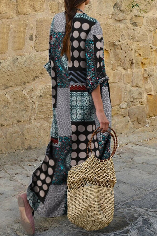 Color-block Vintage Polka Dots Graphic Print V-neck Maxi Dress
