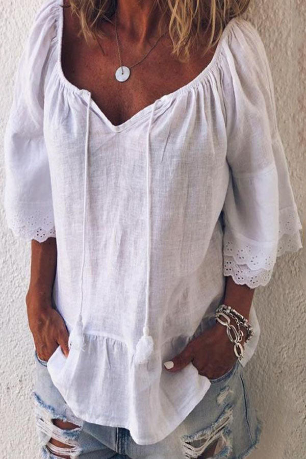 V Neck Solid Cutout Lace Paneled Tassel T-shirts