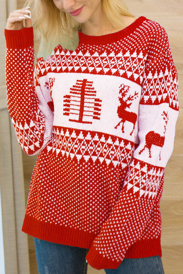 Christmas Elk Tree Jacquard Knitted Ribbed Holiday Sweater