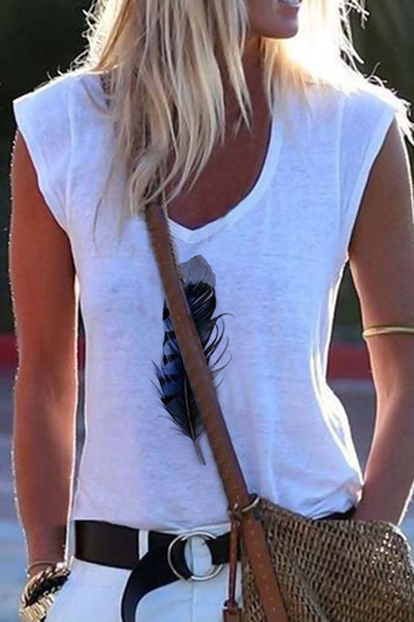 Paneled V-neck Feather Print Sleeveless Casual T-shirt