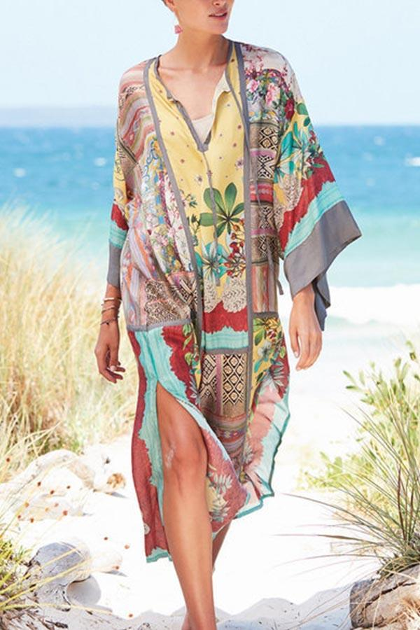 Boho Print V-neck Holiday Slit Midi Dress