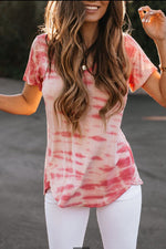 V-neck Paneled Gradient Print Casual Short Sleeves T-shirt