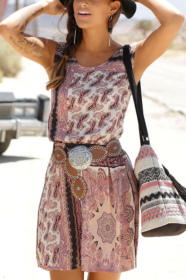 Bohemian Print Sleeveless Holiday Cutout Mini Dress