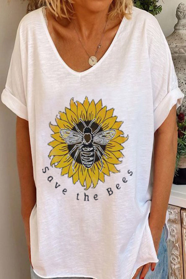 Bee Sunflower Print Paneled V-neck Short Sleeves Casual T-shirt