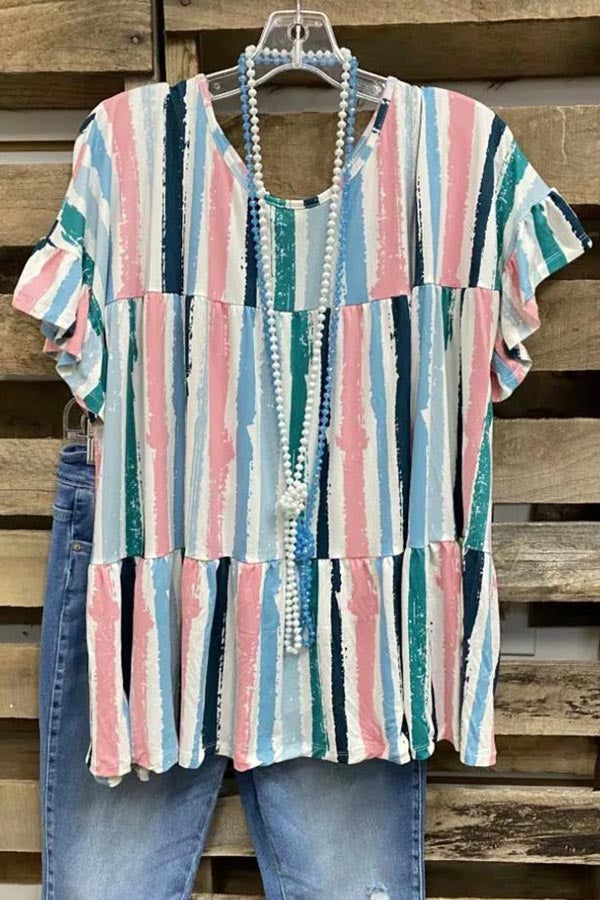 Paneled Striped Print Frill Sleeves Casual T-shirt
