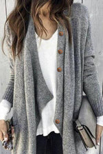 Paneled Solid Buttons Down Casual Knitted Cardigan