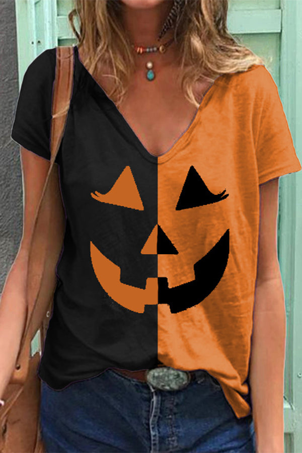 Halloween Color-block Smile Face Witch Clown Face Chaplin Print T-shirt