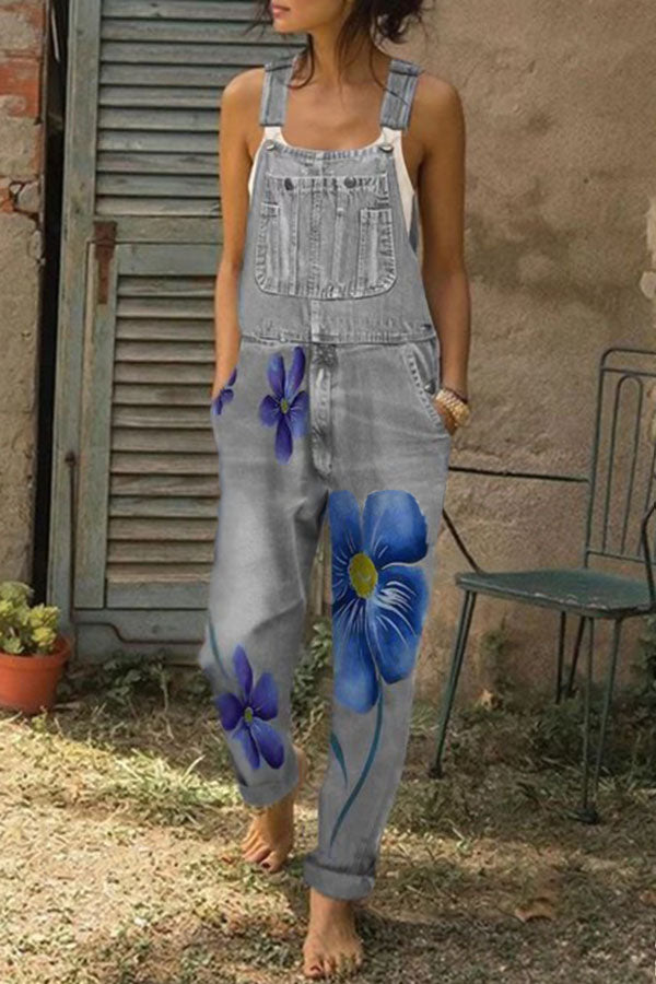 Floral Print Paneled Side Pockets Casual Denim Jumpsuit