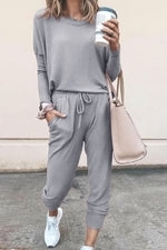 Solid Crew Neck Top With Pant Two-pieces Set