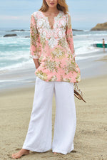 Paneled Floral Print Lace V-neck 3/4 Sleeves Holiday Slit Blouse