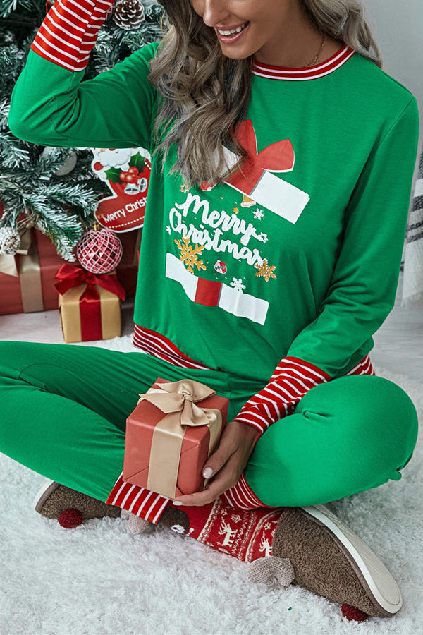 Merry Christmas Striped Print Blouse With Pants Two-pieces Set