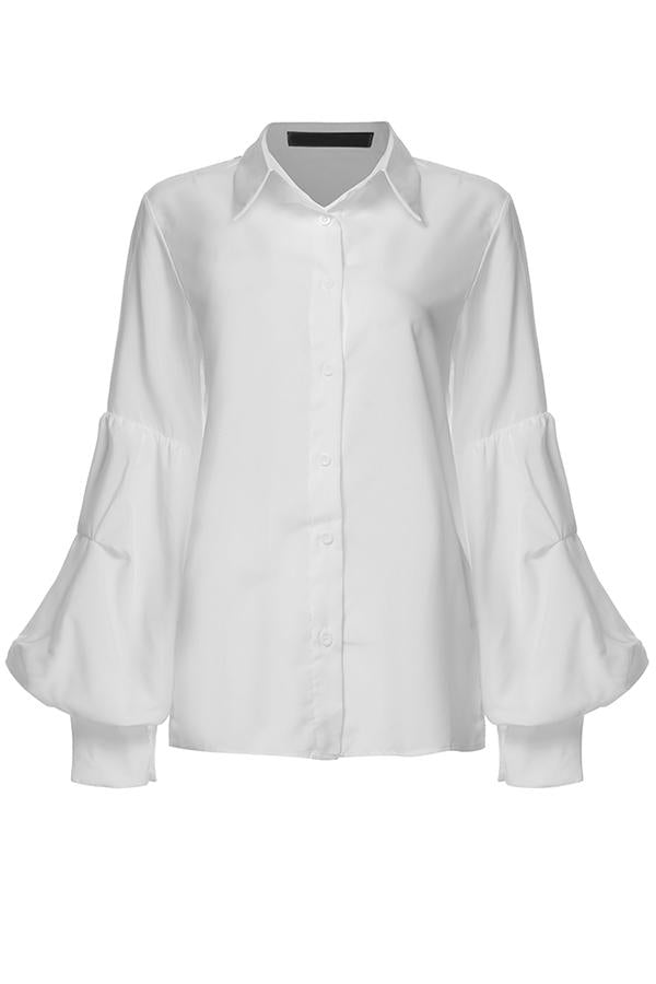 Solid Casual Buttons Down Paneled Balloon Sleeves Blouse