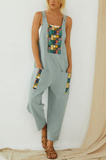 Paneled Geometric Print Buttoned Pockets Casual Jumpsuit