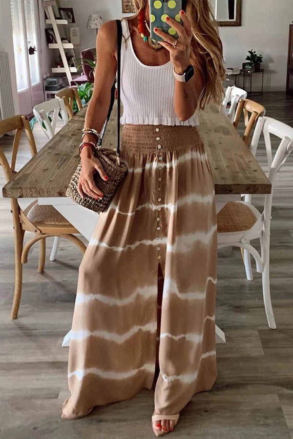 Holiday Striped Gradient Print Buttoned Slit Maxi Skirt