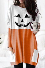 Color-block Halloween Pumpkin Print Paneled Pockets T-shirt