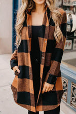 Orange Black Plaid Jacquard Color-block Buttoned Casual Coat