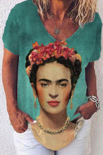 Oil Painting Frida Kahlo Gradient Print Floral Headwear Vintage T-shirt