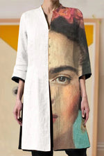 Vintage Artistic Frida Kahlo Oil Painting Print Gradient Buttons Down Blouse