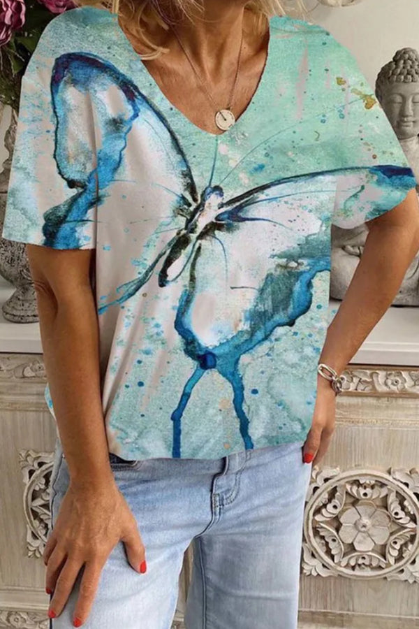 V-neck Butterfly Gradient Print Short Sleeves Casual T-shirt