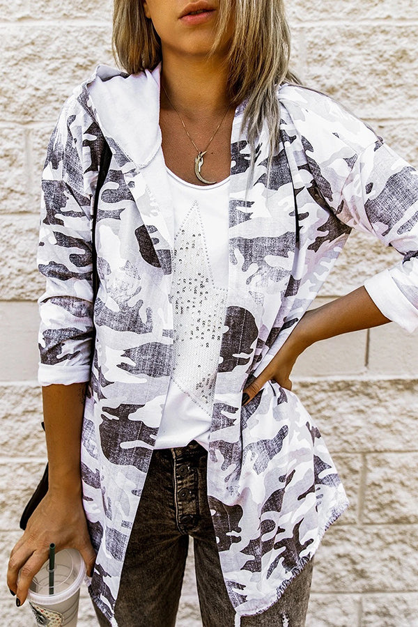 Camouflage Print Outerwear Paneled Hooded Drawstring Street Coat