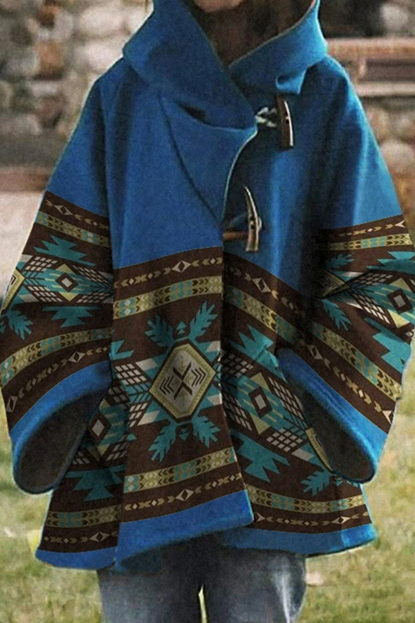 AZTEC Jacquard Horn Buckle Bohemian Hooded Coat