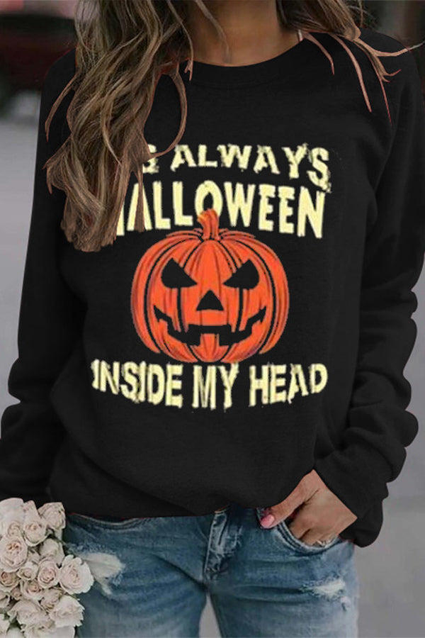 Its Always Halloween Inside My Head Pumpkin Print Casual Sweatshirt
