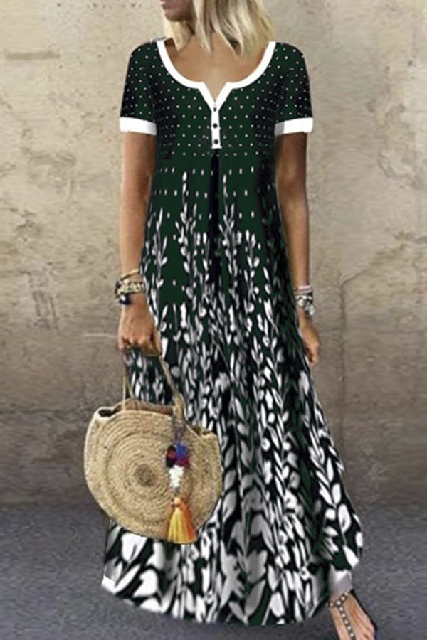 Paneled Print Buttoned V-neck Holiday Maxi Dress