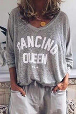 Letter Print V-neck Casual Paneled Long Sleeves T-shirt