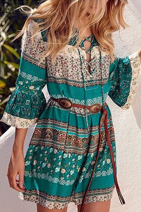 Bohemian Floral Print Plunging Neck Lace Up Holiday Mini Dress