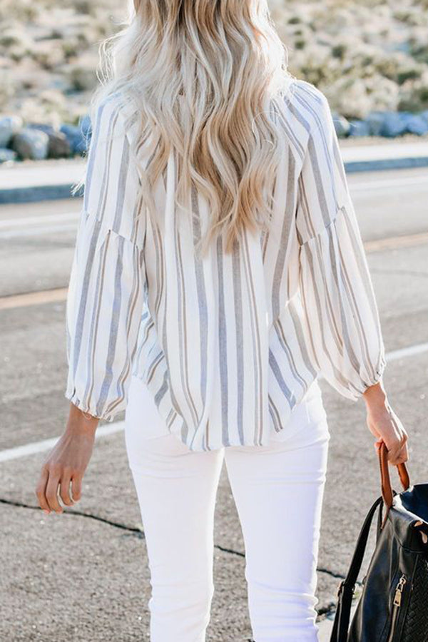 Stripe Print Shift Long Sleeves Loose T-shirts