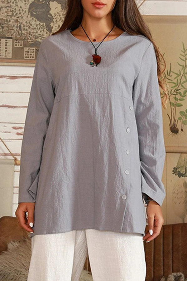 Solid Paneled Buttoned Casual Long Sleeves Blouses