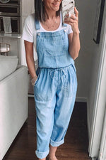 Solid Casual Paneled Buckles Self-tie Side Pockets Denim Jumpsuit